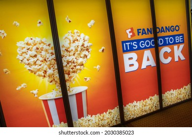 Las Vegas, NV - August 2021: Cinemacon 2021 show floor Fandango lightbox.