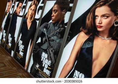 Las Vegas, NV - August 2021: Cinemacon 2021 show floor James Bon No Time To Die lightbox.