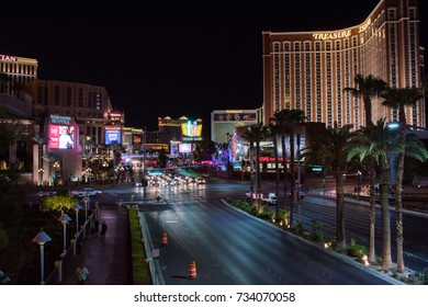Las Vegas, NV: August 3, 2017: A long exposure of Treasure Island and the Las Vegas strip. The Las Vegas Strip is a top tourist destination in the United States.