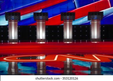 LAS VEGAS, NV, Dec 15, 2015, Empty Podiums at the CNN Republican presidential debate at The Venetian Resort and Casino, Las Vegas, NV