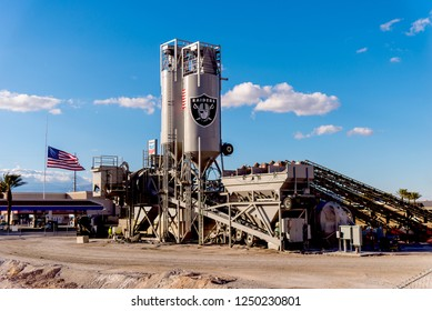 Las Vegas, NV -December 1, 2018. Large construction project of a new football stadium off the Las Vegas Strip for the Raiders NFL football team. Cement making equipment