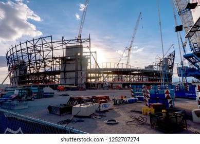 Las Vegas, NV -December 1, 2018. Large construction project of a new football stadium off the Las Vegas Strip for the Raiders NFL football team