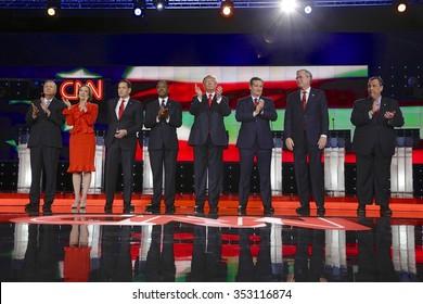 LAS VEGAS, NV - DECEMBER 15: Republican presidential candidates (L-R) John Kasich, Carly Fiorina, Sen. Marco Rubio, Ben Carson, Donald Trump, Sen. Ted Cruz, Jeb Bush, Chris Christie
