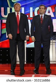 LAS VEGAS, NV - DECEMBER 15: Republican presidential candidates US Senator Ted Cruz and Donald J. Trump at CNN republican presidential debate at The Venetian, December 15, 2015, Las Vegas, Nevada