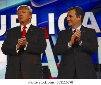 LAS VEGAS, NV - DECEMBER 15: Republican presidential candidates US Senator Ted Cruz and Donald J. Trump clap at CNN republican presidential debate at The Venetian, December 15, 2015, Las Vegas, Nevada