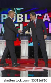 LAS VEGAS, NV - DECEMBER 15: Republican presidential candidates US Senator Ted Cruz and Donald J. Trump shake hands at CNN republican presidential debate at The Venetian, December 15, 2015
