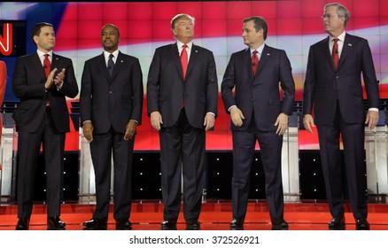 LAS VEGAS, NV - DECEMBER 15 2015: Republican presidential candidates (L-R) Marco Rubio, Ben Carson, Donald Trump, Sen. Ted Cruz, Jeb Bush