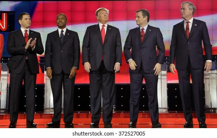 LAS VEGAS, NV - DECEMBER 15 2015:: Republican presidential candidates (L-R) Marco Rubio, Ben Carson, Donald Trump, Sen. Ted Cruz, Jeb Bush