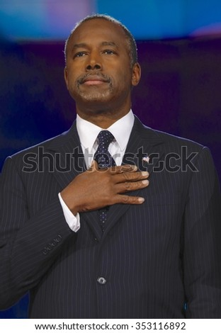 LAS VEGAS, NV - DECEMBER 15: Republican candidate Dr. Ben Carson holds hand over heart at CNN republican presidential debate at The Venetian, December 15, 2015, Las Vegas, Nevada