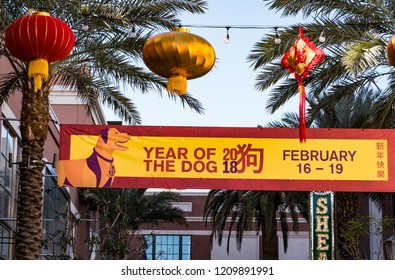 LAS VEGAS, NV - FEBRUARY 16, 2018: A photo of a Year of the Dog banner celebrating the Chinese New Year at the LINQ Promenade pedestrian mall.