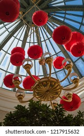 LAS VEGAS, NV - FEBRUARY 16, 2018: A photo of a red lantern display celebrating Chinese New Year at Caesars Palace.