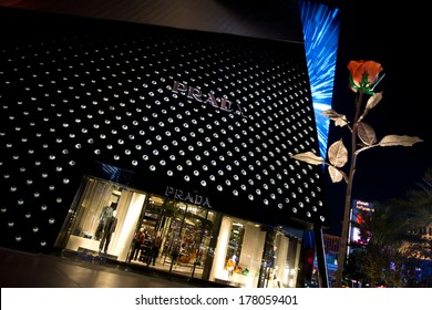 LAS VEGAS, NV - FEBRUARY 16, 2014: The Prada Boutique exemplifies the high-end retail options at Crystals Shopping Center at the City Center on the Las Vegas Strip in Las Vegas, NV; February 16, 2014.