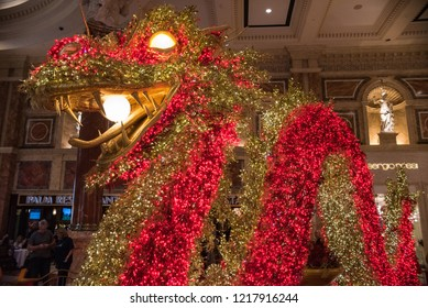 LAS VEGAS, NV - FEBRUARY 17, 2018: A photo of a large, elaborate red and gold dragon as part of the Caesar's Palace Chinese New Year decorations.