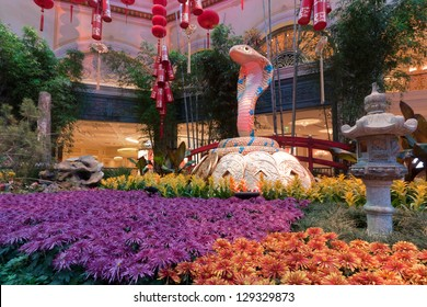 LAS VEGAS, NV - FEBRUARY 17:  Gardens of the Bellagio Hotel & Casino are decorated to celebrate the Chinese New Year for the Year of the Snake in Las Vegas, NV on February 17, 2013.