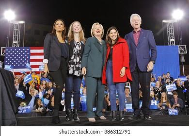 LAS VEGAS, NV - FEBRUARY 19: Eva Longoria, Chelsea Clinton, Hillary Clinton Secretary of State and 2016 Democratic presidential candidate, Actress America Ferrera and Bill Clinton Las Vegas, Nevada
