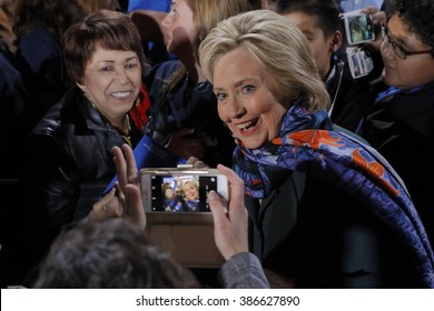 LAS VEGAS, NV - FEBRUARY 19: Secretary Hillary Clinton poses for selfee photograph at her 'Get Out The Caucus' rally at the Clark County Government Center on February 19, 2016 in Las Vegas, Nevada.