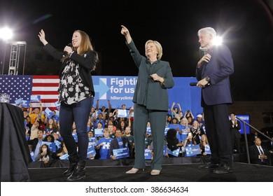 LAS VEGAS, NV - FEBRUARY 19: (L-R) Chelsea Clinton, Democratic presidential candidate former Secretary of State Hillary Clinton and President Bill Clinton February 19, 2016 in Las Vegas, NV.