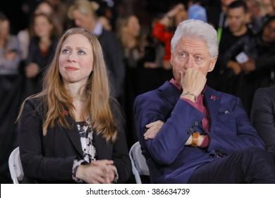 LAS VEGAS, NV - FEBRUARY 19: Chelsea Clinton and former President Bill Clinton watch former Secretary of State Hillary Clinton, in Las Vegas, Nevada, U.S., on Friday, Feb. 19, 2016.