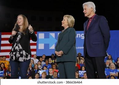 LAS VEGAS, NV - FEBRUARY 19: Chelsea Clinton, Democratic presidential candidate former Secretary of State Hillary Clinton and former U.S. president Bill Clinton February 19, 2016 in Las Vegas, NV