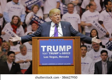 LAS VEGAS, NV - FEBRUARY 22: Republican 2016 presidential candidate Donald Trump speaks at a rally at the South Point Hotel & Casino on February 22, 2016 in Las Vegas, Nevada.