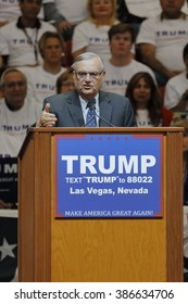 LAS VEGAS, NV - FEBRUARY 22: Maricopa County, Arizona Sheriff Joe Arpaio speaks during a rally for Republican presidential candidate Donald Trump at the South Point Hotel Las Vegas, Nevada.