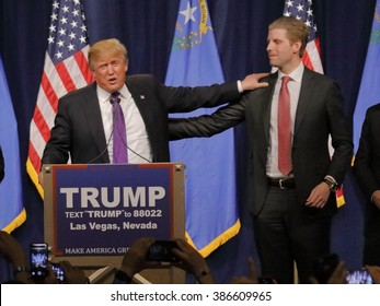 LAS VEGAS, NV - FEBRUARY 23: Presidential candidate for the Republican 2016 Presidential Primary Campaign, Donald J. Trump shakes hands with voters at Nevada caucus, Palos High School, Las Vegas.