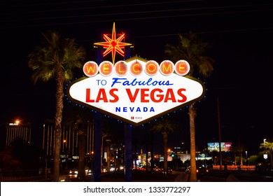 "Las Vegas, NV - January 9, 2019: Photo of the famous landmark ""Welcome To Fabulous Las Vegas, Nevada"" Sign in Las Vegas by night."