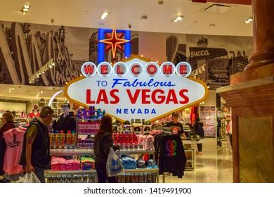 "Las Vegas, NV - January 9, 2019: Photo of the famous landmark ""Welcome To Fabulous Las Vegas, Nevada"" Sign in a Las Vegas Casino"