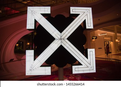 Las Vegas, NV: July 13, 2019:  Arrows and Flower Neon Sign by Takashi Murakami and Virgin Abloh at the Wynn Plaza.  Wynn Plaza is located at the Wynn Las Vegas Resort.