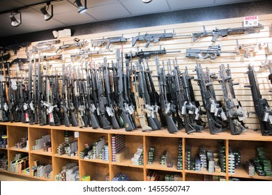 Las Vegas, NV: July 13, 2019:  Interior of the The Vegas Machine Gun Experience in Las Vegas, NV.  At the Vegas Machine Gun Experience, customers can use machine guns at the gun range.