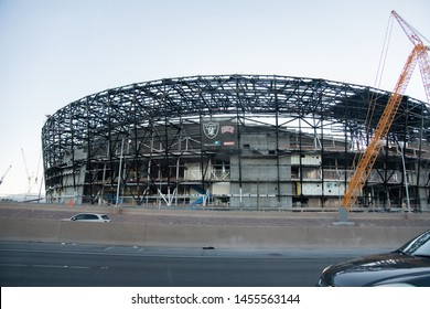 Las Vegas, NV: July 13, 2019:  Las Vegas Stadium under construction in the city of Las Vegas.  The Las Vegas Stadium is expected to be completed in 2020.