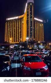 LAS VEGAS, NV- JULY 13, 2013: Full parking lot near Mandalay Bay Hotel.