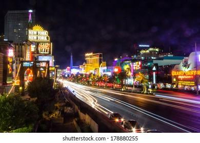 LAS VEGAS, NV- JULY 13, 2013: Moving cars in Las Vegas