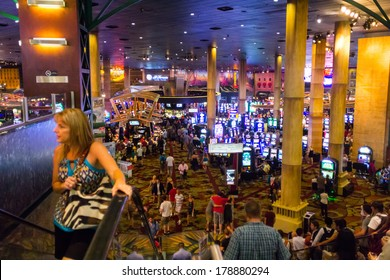 LAS VEGAS, NV- JULY 13, 2013:  Crowded Casino area inside New York-New York Hotel.