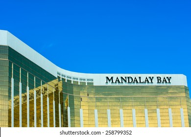 LAS VEGAS, NV -  JUNE 11, 2013:  The Mandalay Bay Resort and Casino in Las Vegas on June 11, 2013. Mandalay Bay with gold colored exterior was opened in 1999.