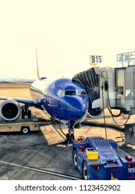 Las Vegas, NV - June 2, 2018: Southwest airline plane at gate boarding passengers in Las Vegas airport. A very popular domestic flight airline.