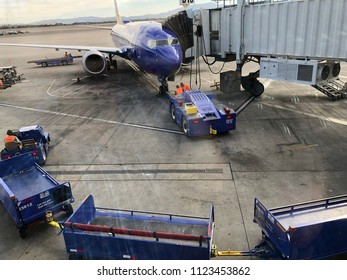 Las Vegas, NV - June 2, 2018: Southwest plane at Las Vegas airport unloading passengers at gate B15.