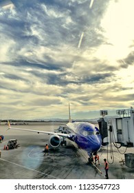 Las Vegas, NV - June 2, 2018: Just landed Southwest plane getting service at gate B15 in a Las Vegas airport.