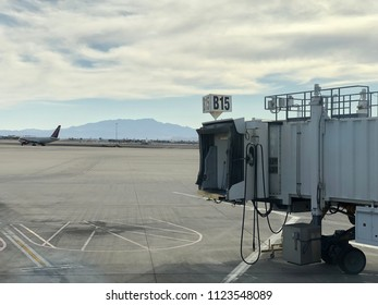 Las Vegas, NV - June 2, 2018: Empty Gate B15 at Terminal 1 of Las Vegas airport. This section of the airport serves mainly Southwest Airlines, popular domestic airline.