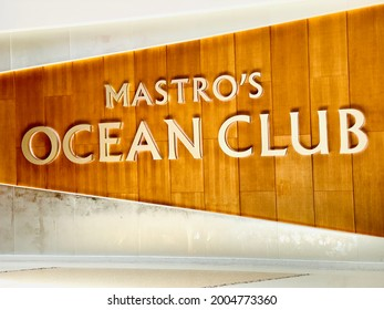 Las Vegas, NV - June 22, 2021: Sophisticated seafood restaurant known as Mastro's Ocean Club facade inside Crystals shopping mall.