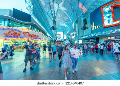 LAS VEGAS, NV - JUNE 29, 2018: Downtown Las Vegas lights and nightlife in Fremont Street. This is is the second most famous street in the city.