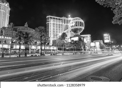 LAS VEGAS, NV - JUNE 30, 2018: Night view of Strip Casinos. Las Vegas is a famous gambling destination.