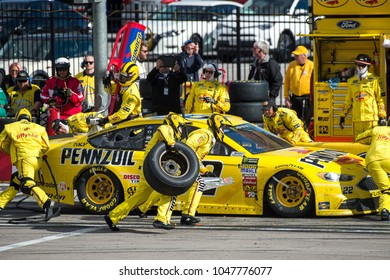 LAS VEGAS, NV - MAR 04:  Pit stop for Joey Logano in the 22 car at the NASCAR Monster Energy Cup Series Pennzoil 400 race at Las Vegas Motorspeedway in Las Vegas on March 04, 2018