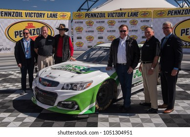 LAS VEGAS, NV - MAR 04:  unveiling of ALSCO 300 car by Richard Petty and Richard Childress at the NASCAR Monster Energy Cup Series Pennzoil 400 race in Las Vegas on March 04, 2018