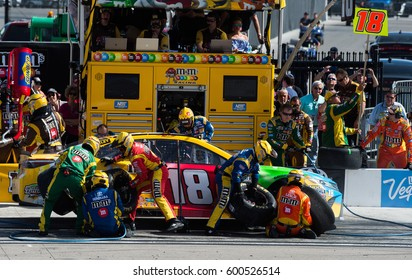 LAS VEGAS, NV - MAR 12: Pit stop for Kyle Busch at the NASCAR Monster Energy Cup Series Kobalt 400 race at Las Vegas Motorspeedway in Las Vegas on March 12th, 2017