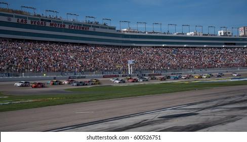 LAS VEGAS, NV - MAR 12: Brad Keselowski leads the field at the NASCAR Monster Energy Cup Series Kobalt 400 race at Las Vegas Motorspeedway in Las Vegas on March 12th, 2017
