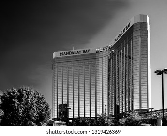LAS VEGAS, NV -  MAY 6, 2009:  The Mandalay Bay Resort and Casino in Las Vegas on May 6, 2009. Mandalay Bay with gold colored exterior was opened in 1999.
