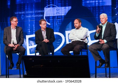 LAS VEGAS, NV -?? MAY 6, 2014: David Goulden, Pat Gelsinger, Paul Maritz and Joe Tucci (left to right) announce federation business model at EMC World 2014 conference on May 6, 2014 in Las Vegas, NV
