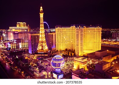 LAS VEGAS, NV -  MAY 7, 2014:  World famous Vegas Strip in Las Vegas seen at night. The Vegas Strip is home to the largest hotels and casinos in the world.