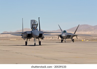 LAS VEGAS, NV - NOV 7:  F-15 Eagle and F-22 Raptor supersonic jet fighters preparing to perform at Aviation Nation 2008 Airshow, November 7, 2008 at Nellis AFB, Las Vegas, NV